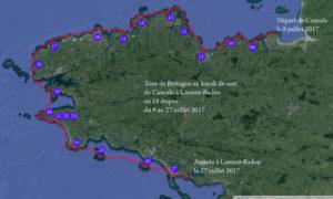 Tour de Bretagne en kayak de mer, 322 milles nautiques, de Cancale à Larmor-Baden, du 8 au 27 juillet 2017.
