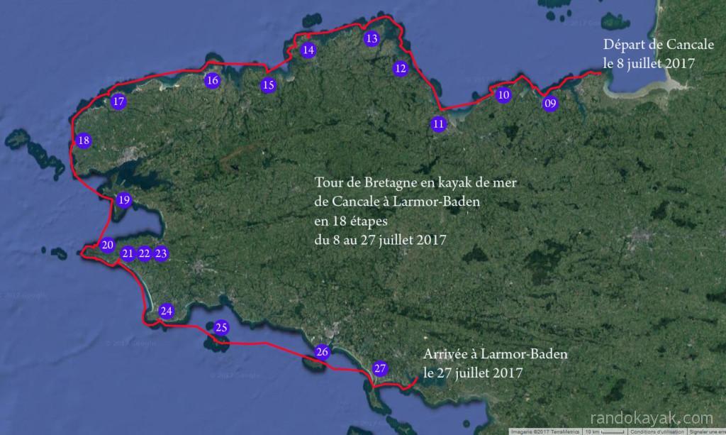 Itinéraire et tracé de notre grande randonnée du Tour de Bretagne en kayak de mer, de Cancale à Larmor-Baden, 322 milles nautiques en 20 jours.