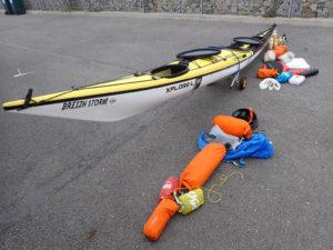 Xplore-L paré pour la Grande randonnée du Tour de Bretagne en kayak de mer.