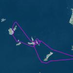 Itinéraire et tracé de notre randonnée en kayak de mer dans l'Archipel de Molène, 22 milles nautiques