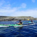 Pascal, Annick et Jean en kayak de mer au départ du Loc'h.