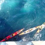 nos kayaks sagement garés devant l'échelle