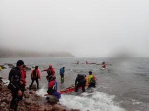réception des arrivants en kayak de mer lors du pique-nique